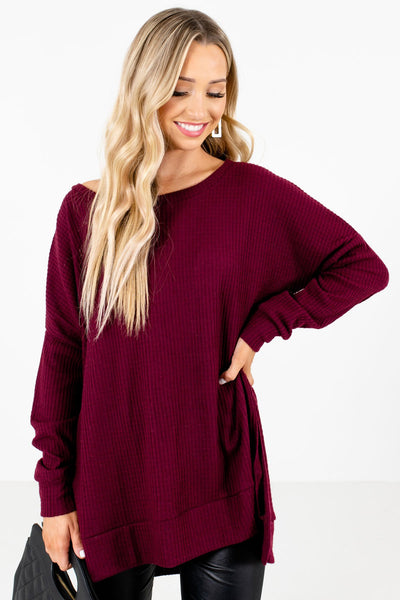 Women's Burgundy Cozy and Warm Boutique Tops