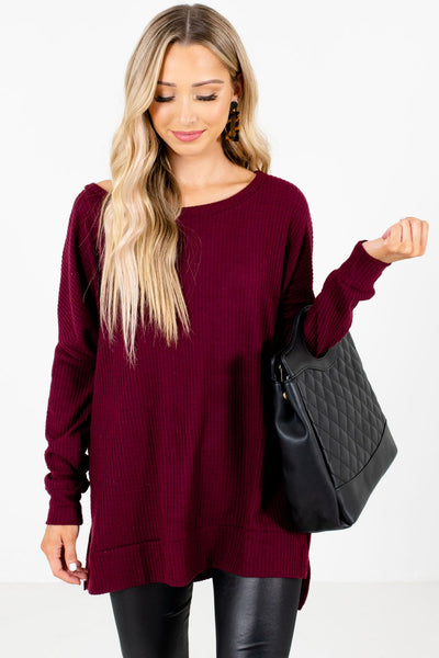 Burgundy High-Quality Waffle Knit Material Boutique Tops for Women
