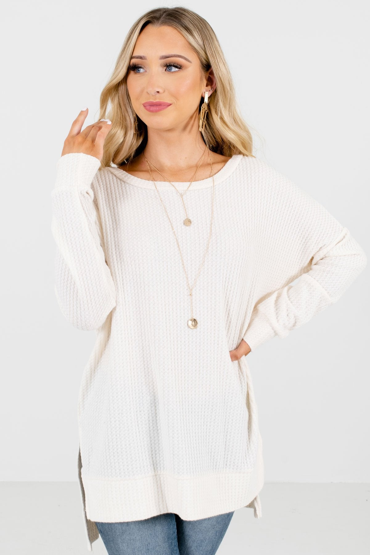 Cream High-Quality Waffle Knit Material Boutique Tops for Women