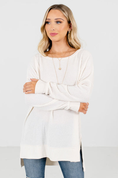 Women's Cream Cozy and Warm Boutique Tops