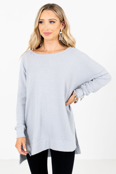 Women's Gray Cozy and Warm Boutique Tops