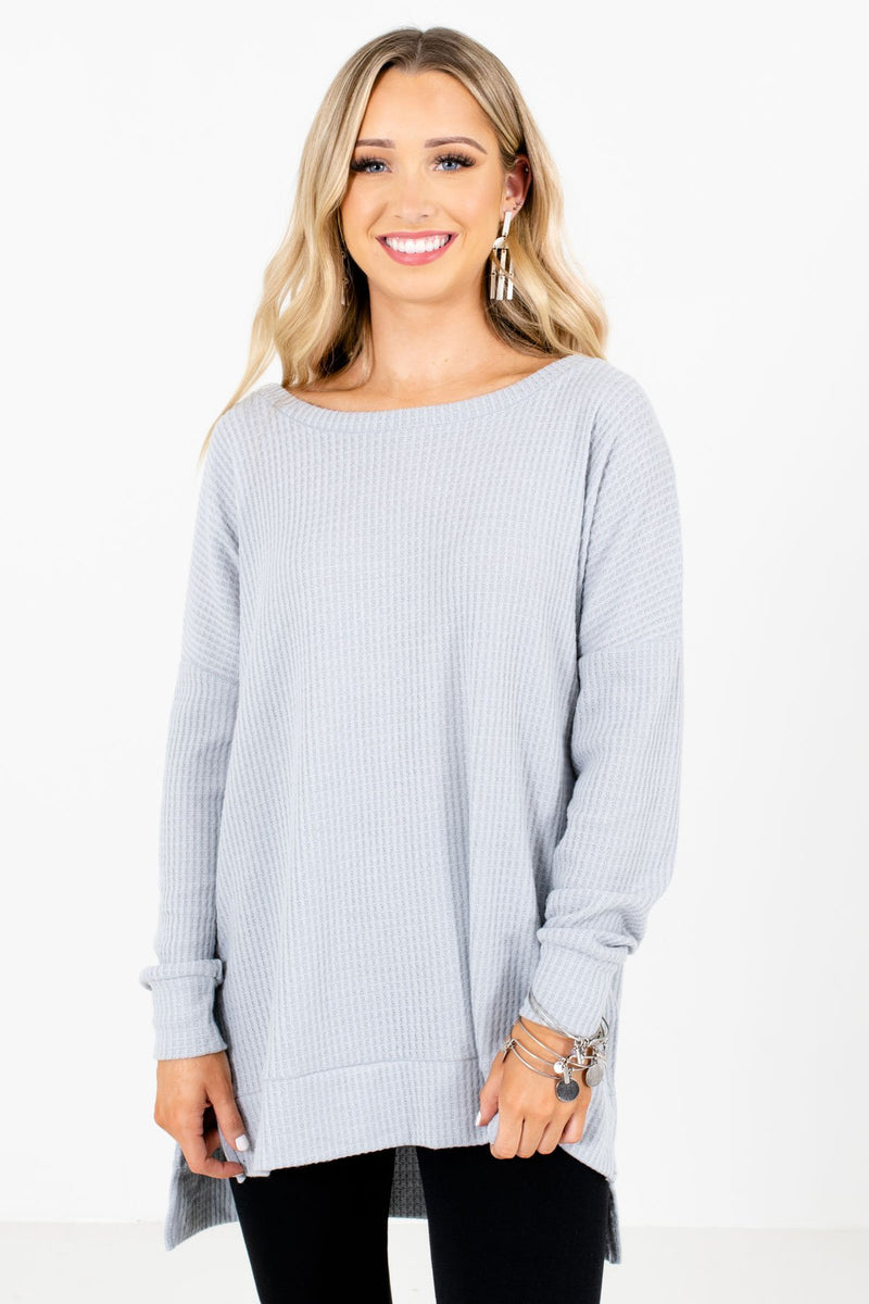 Thinking About You Light Gray Waffle Knit Top