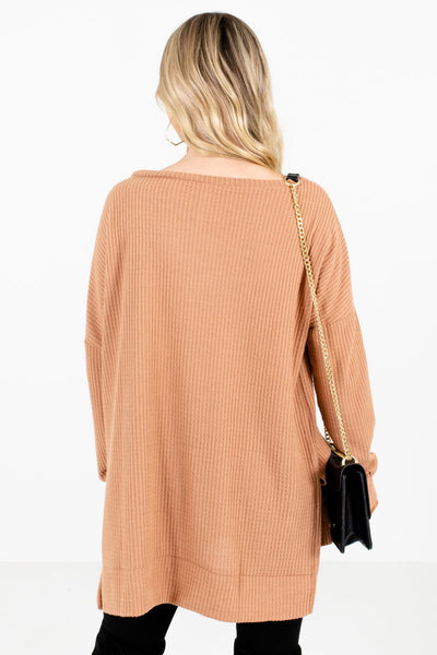 Women's Tan Brown Split High-Low Hem Boutique Tops