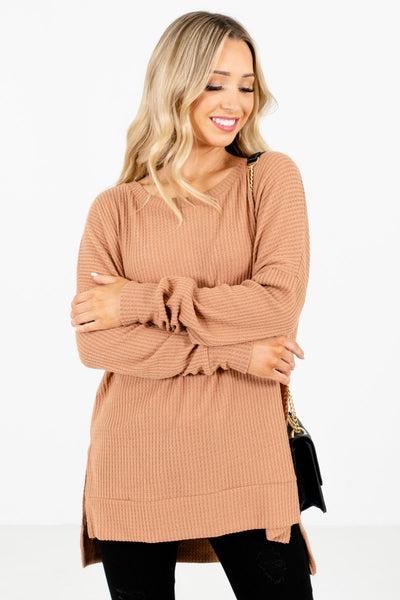 Women's Tan Brown Casual Everyday Boutique Clothing
