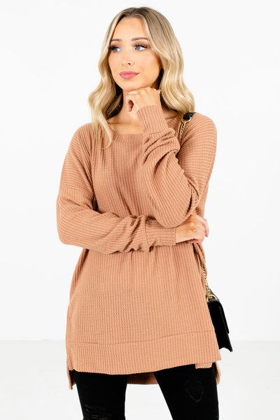 Women's Tan Brown Cozy and Warm Boutique Tops