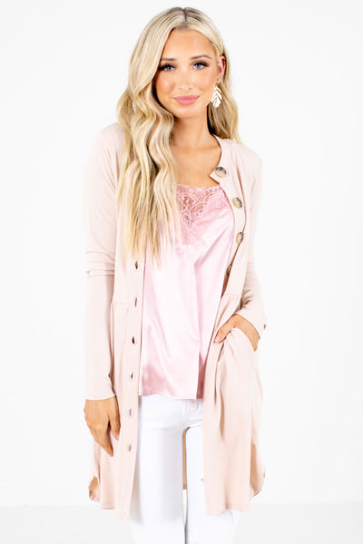 Blush Pink Cute and Comfortable Boutique Cardigans for Women