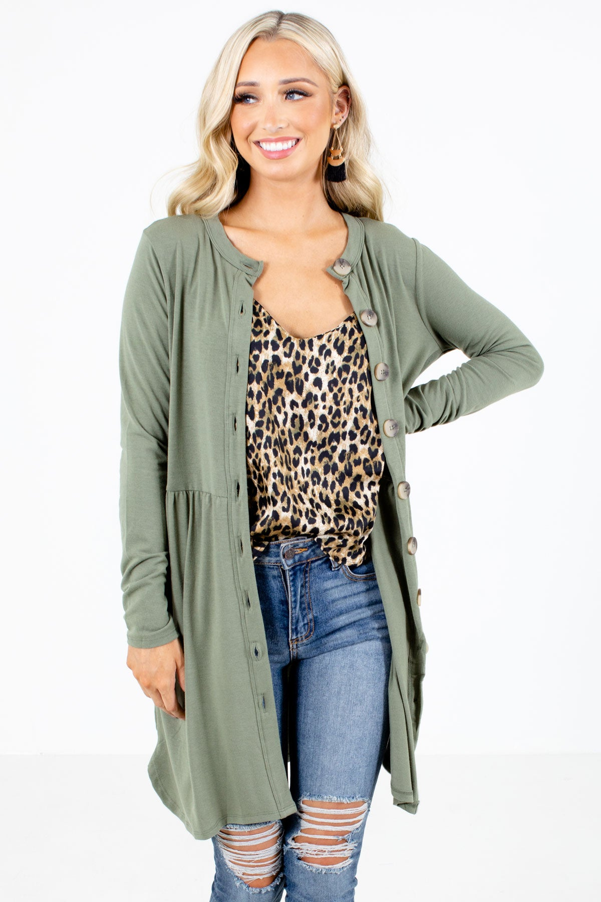 Olive Green Button-Up Front Boutique Cardigans for Women