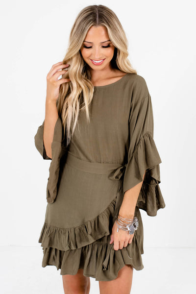 Olive Green Ruffle Accented Boutique Mini Dresses for Women