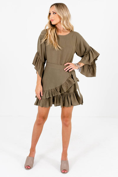 Olive Green Back Zipper Boutique Mini Dresses for Women