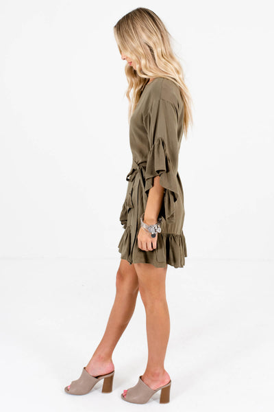 Women's Olive Green Lightweight High-Quality Material Boutique Dress