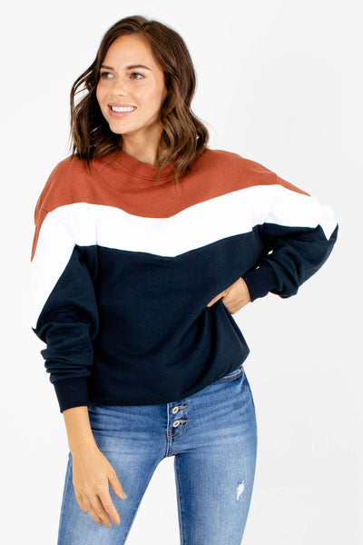 Navy Blue Cute and Comfortable Boutique Pullovers for Women