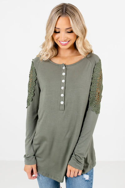 Light Olive Green Crochet Detailed Boutique Tops for Women