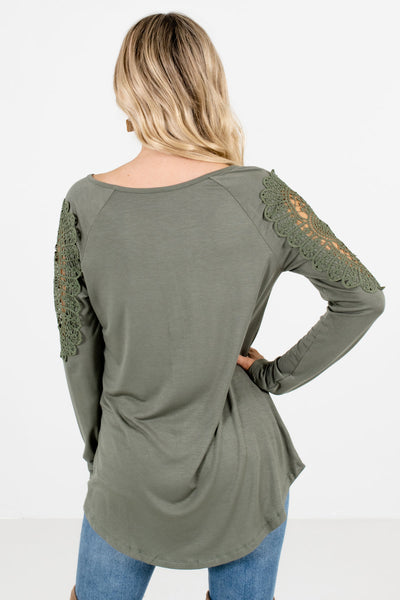 Women's Light Olive Green Button-Up Neckline Boutique Tops