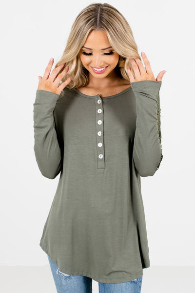 Women's Light Olive Green Soft High-Quality Boutique Tops