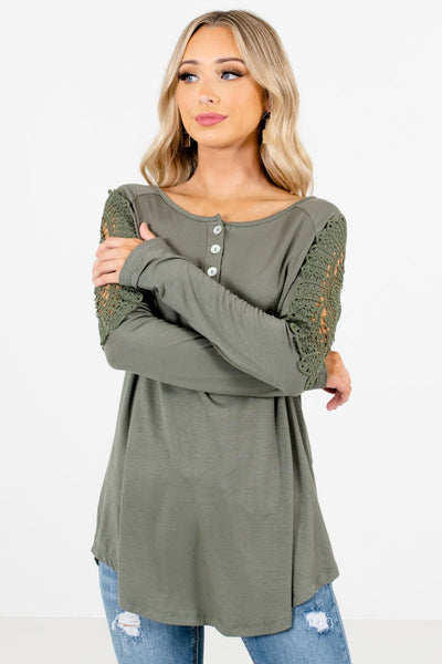 Light Olive Green Cute and Comfortable Boutique Tops for Women