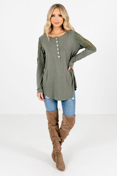 Women's Light Olive Green Fall and Winter Boutique Clothing