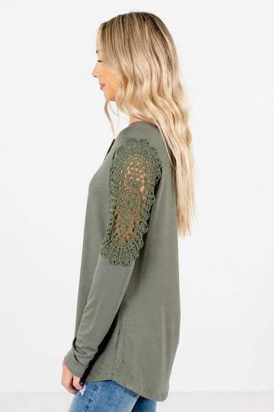 Light Olive Green High-Low Hem Boutique Tops for Women