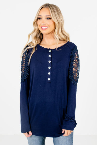 Navy High-Low Hem Boutique Tops for Women