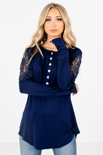 Women's Navy Soft High-Quality Boutique Tops