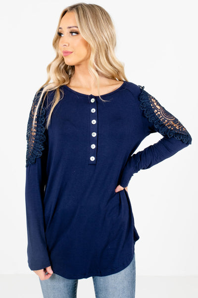 Navy Crochet Detailed Boutique Tops for Women