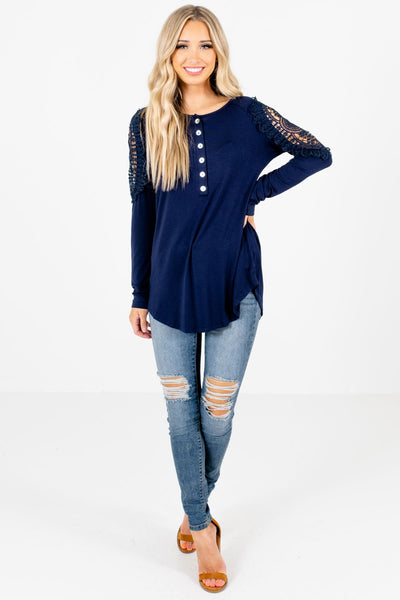Navy Cute and Comfortable Boutique Tops for Women