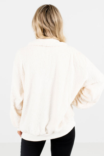 Women's White Zip-Up Neckline Boutique Pullover