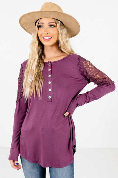Purple Crochet Detailed Boutique Tops for Women