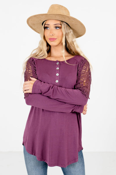 Women's Purple Long Sleeve Boutique Tops