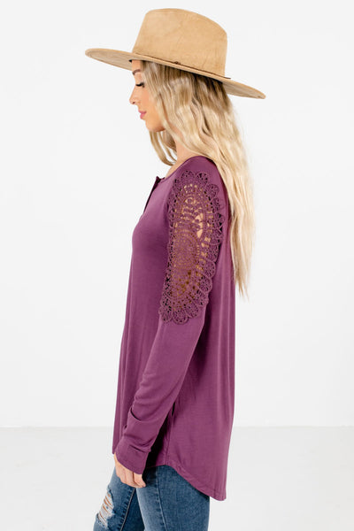 Purple High-Low Hem Boutique Tops for Women