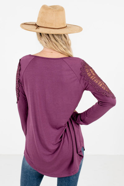 Women's Purple Button-Up Neckline Boutique Tops