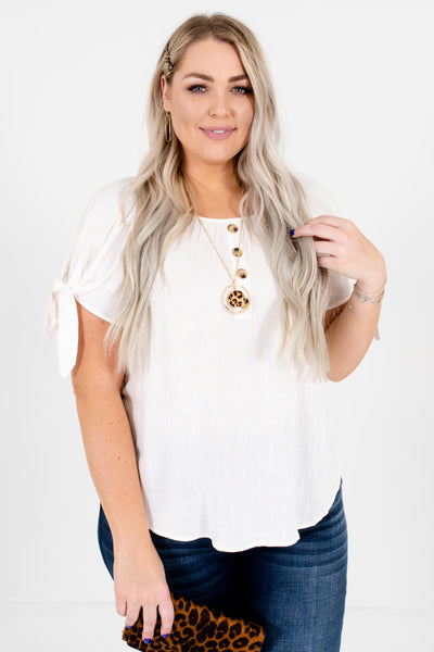 White High-Quality Plus Size Boutique Tops for Women