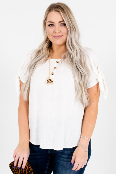 White Cute and Comfortable Plus Size Boutique Tops for Women