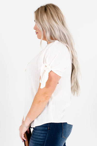 Women's White Rounded Hem Plus Size Boutique Tops