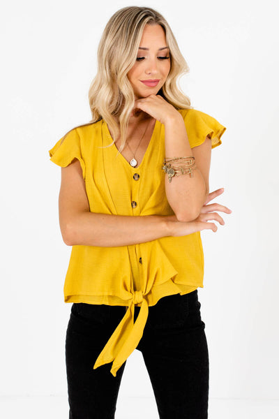 Mustard Yellow Cute and Comfortable Boutique Tops for Women