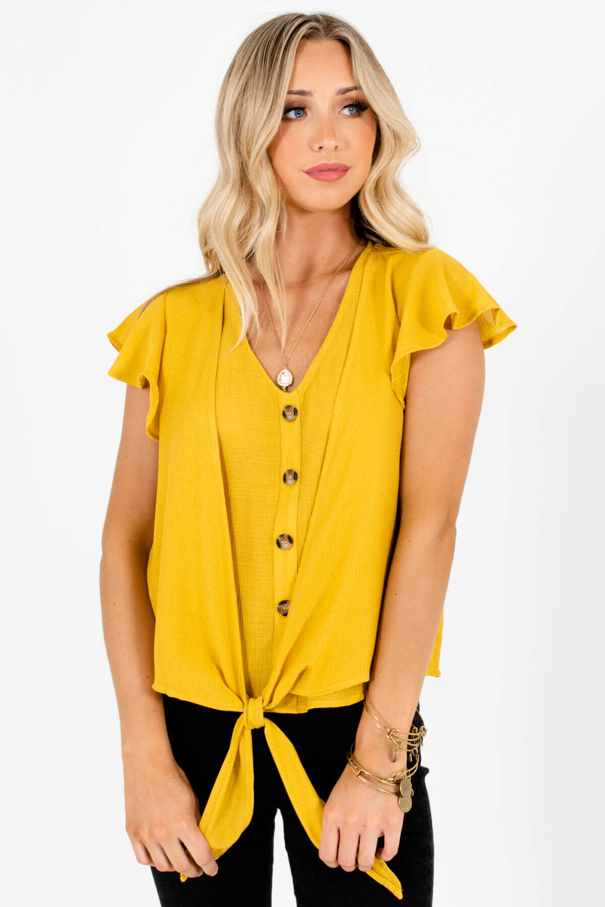 Mustard Yellow Decorative Buttons Tie Front Tops for Women