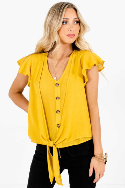 Mustard Yellow Business Casual Boutique Blouses for Women