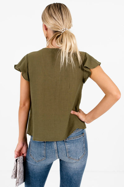 Women's Olive Green Flutter Sleeves Boutique Tops