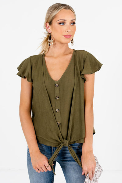 Olive Green Decorative Buttons Tie Front Tops for Women