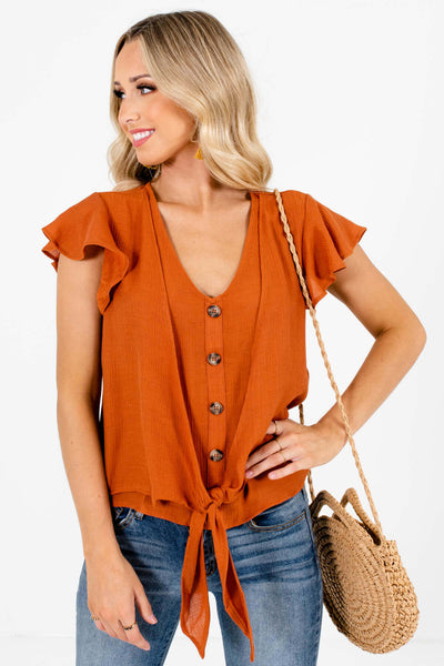 Rust Orange Decorative Buttons Tie Front Tops for Women