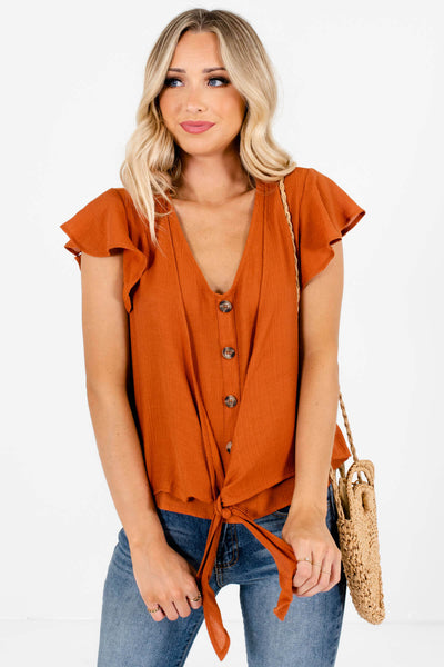 Rust Orange Cute and Comfortable Boutique Tops for Women
