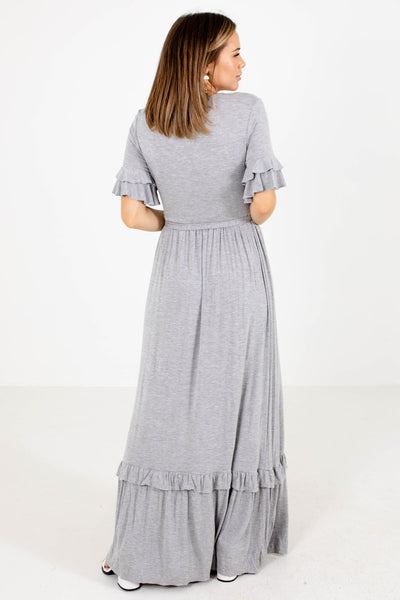 Gray Ruffle Accented Boutique Maxi Dresses for Women