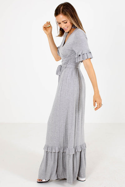 Women's Gray V-Neckline Boutique Maxi Dress