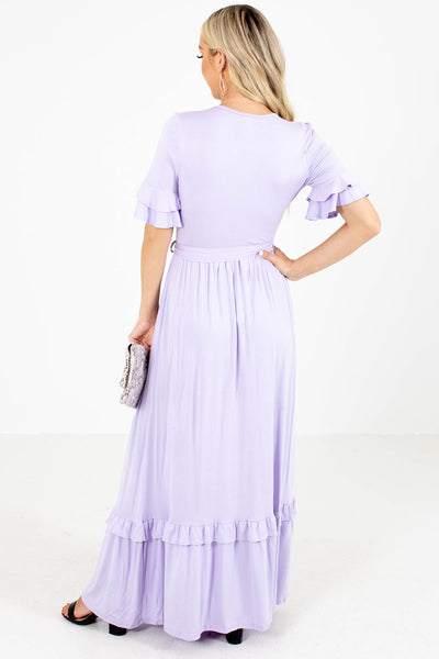 Women's Purple Waist Tie Detail Boutique Maxi Dress
