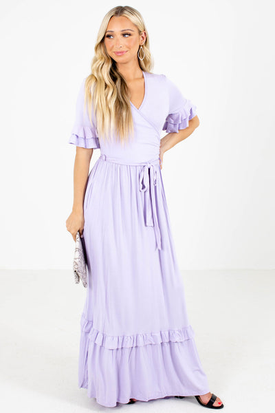Purple Faux Wrap Style Boutique Maxi Dresses for Women