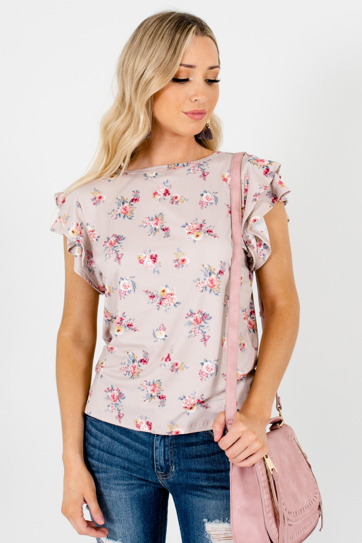 Taupe Brown Rose Floral Ruffle Sleeve Soft Stretchy Tops for Women