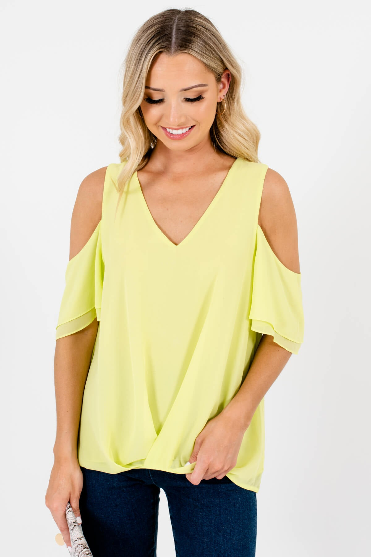 Neon Green Cold Shoulder Style Boutique Tops for Women