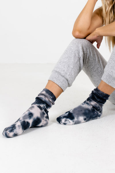Gray Tie-Dye Cute and Comfortable Boutique Socks for Women