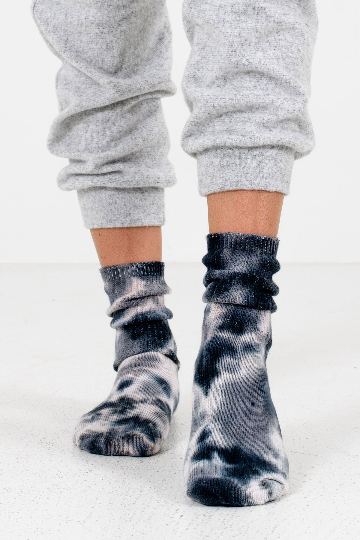 Gray and Blue Tie-Dye Print Boutique Socks for Women