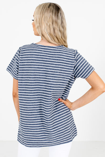 Women's Blue Short Sleeve Boutique Top