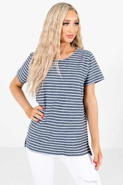Navy Blue Stripe Patterned Boutique Tops for Women
